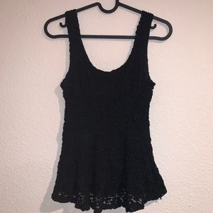 Peplum black lace fitted tank top